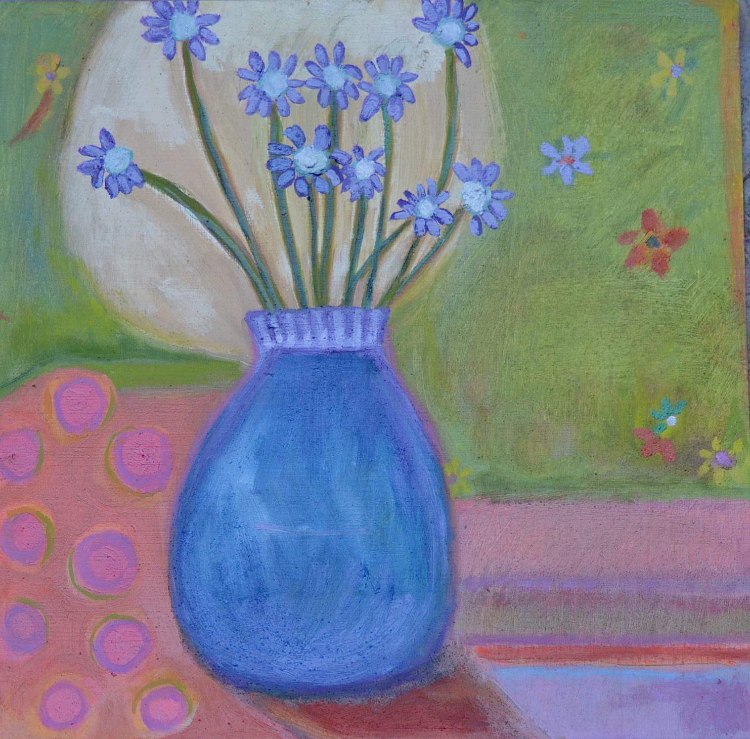 Blue vase with blue flowers